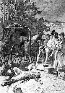 "Illustration from 1897 edition of ""Z. Marcas"".  A man in military dress lies on the ground while another man enters a horse-drawn carriage. A small crowd stands nearby."