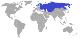 1957 Bandy World Championship - Participating countries in the 1957 Bandy World Championship  Blue: countries participating Green: members of the Federation of International Bandy not participating in this year's World Championship
