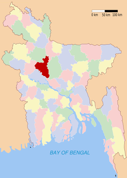 Location of Sirajganj in Bangladesh