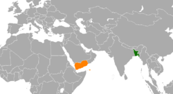 Map indicating locations of Bangladesh and Yemen