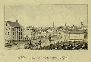 Potsdam (village), New York - Western View of Potsdam, New York (circa 1856-1860) by John Warner Barber
