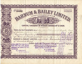 P. T. Barnum - Share of the Barnum and Bailey Ltd, issued 24. January 1902