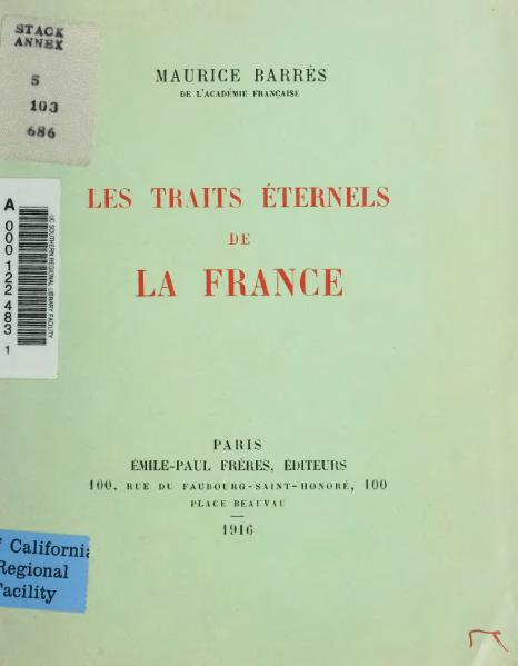File:Barrès - Les Traits éternels de la France, 1916, Émile-Paul.djvu