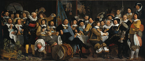 Amsterdam citizens celebrating the Peace of Munster, 30 January 1648. Painting by Bartholomeus van der Helst Bartholomeus van der Helst, Banquet of the Amsterdam Civic Guard in Celebration of the Peace of Munster.jpg