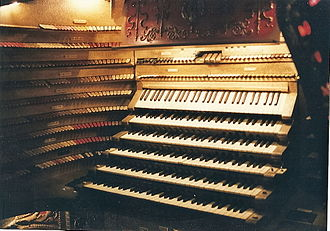 Bartola Musical Instrument Company - Detail of console of Barton organ originally installed in the Chicago Stadium, Chicago, Illinois.  This was the largest console built by Bartola, and controlled the largest Barton organ ever built.