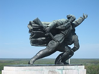 Battle of Batina - Detail from the Batina monument which represents Yugoslav partisan going to battle