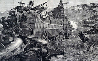 Matabeleland - Battle between British soldiers and Matabele (Richard Caton Woodville)