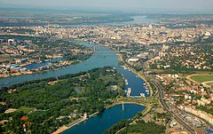 Aerial view of Belgrade downtown and river shores