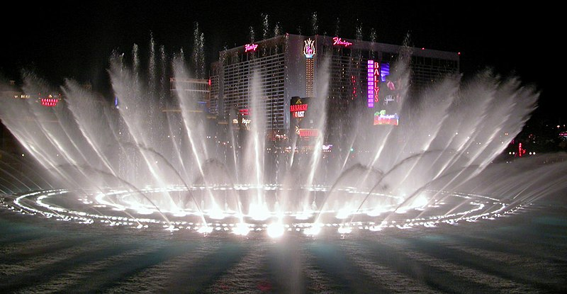 Bellagio fountain in the night