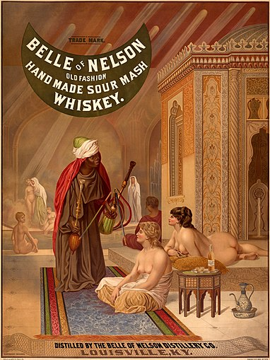 Belle of Nelson whiskey poster (1878), based on a harem scene by Jean-Léon Gérôme.