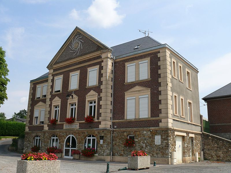 The town hall of Bellicourt (Aisne, Picardie, France).