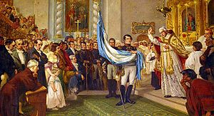 Flag of Argentina - The priest Juan Ignacio Gorriti blessing the flag.