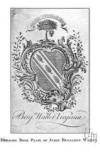 Benjamin Waller - Image: Benjamin Waller Williamsburg armorial bookplate