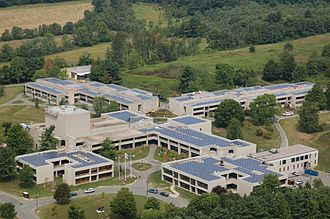 Berkshire Community College - Aerial view of Berkshire Community College's campus on 1350 West Street in Pittsfield, Massachusetts.