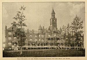 "North Carolina School for the Deaf - ""Main Building for the North Carolina School for the Deaf and Dumb,"" from the Third Biennial Report of the Board of Directores of the North Carolina School for the Deaf and Dumb, 1896 (page 2)"