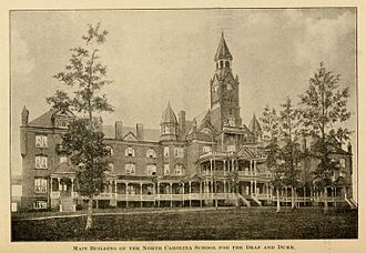"""North Carolina School for the Deaf - """"Main Building for the North Carolina School for the Deaf and Dumb,"""" from the Third Biennial Report of the Board of Directores of the North Carolina School for the Deaf and Dumb, 1896 (page 2)"""