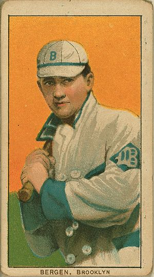 Bill Bergen - Bill Bergen baseball card, ca. 1909-1911, published by American Tobacco Company