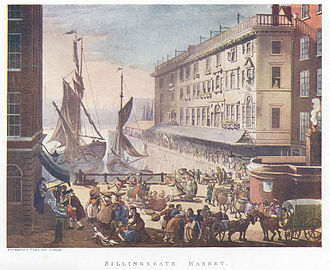 Billingsgate Fish Market - The original open air Billingsgate Fish Market in the early 19th century. Boats delivered fish to this small inlet of the Thames and business was conducted on the quayside.