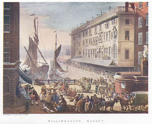 The original open air Billingsgate Fish Market in the early 19th century. Boats delivered fish to this small inlet of the Thames and business was conducted on the quayside. Billingsgatemicrocosm.jpg