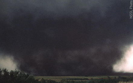 A wedge tornado, nearly a mile wide, which hit Binger, Oklahoma in 1981 Binger Oklahoma Tornado.jpg