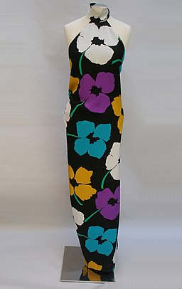 Black evening gown with flower print by James Galanos. America, 1980