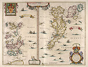 "An old map of two island groups with the ""Orcades"" at left and ""Schetlandia"" at right. A coat of arms at top left shows a red lion rampant on a yellow shield flanked by two white unicorns. A second heraldic device is shown at bottom right below the ""Oceanus Germanicus"". This has two mermaids surrounding a tabula containing very small writing, topped by a yellow and blue shield."