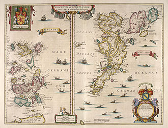 "Orkney - Blaeu's 1654 map of Orkney and Shetland. Map makers at this time continued to use the original Latin name ""Orcades"" ."