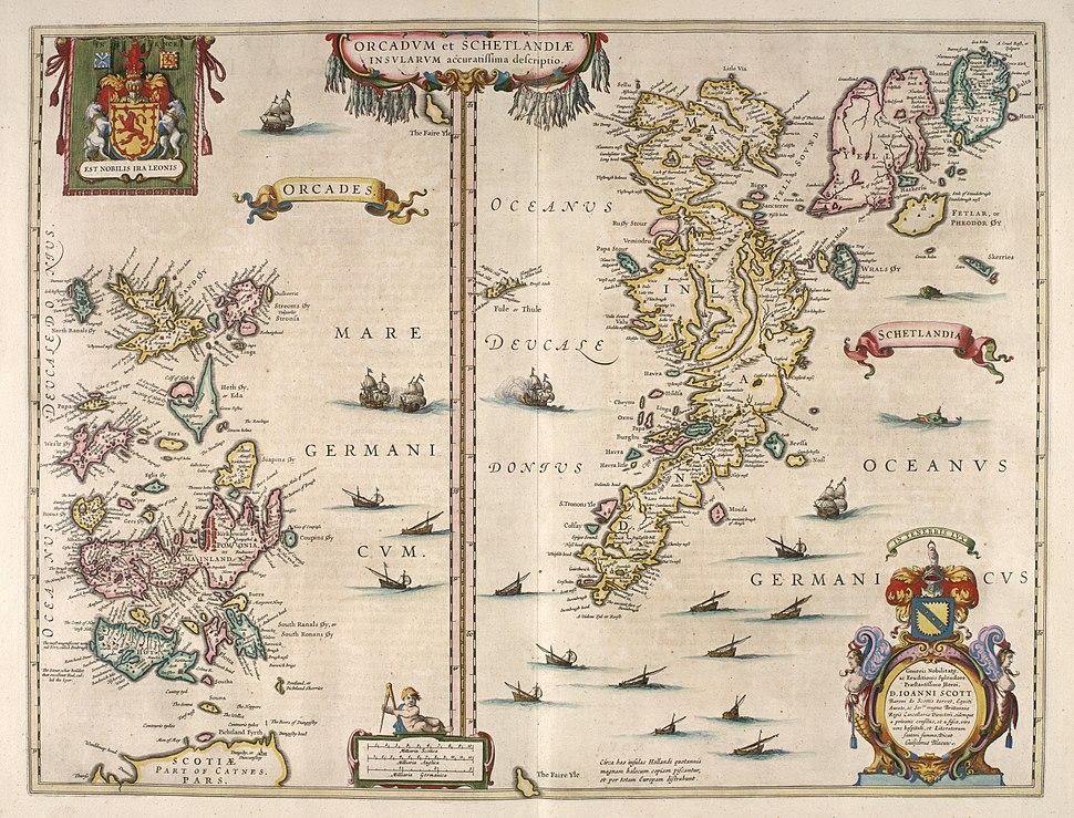 Blaeu - Atlas of Scotland 1654 - ORCADVM ET SCHETLANDIÆ - Orkney and Shetland