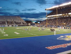Blue Bombers Game at Canad Inns Stadium with temporary seating set up in the endzone for the 2006 Grey Cup