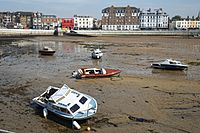 Boats at low tide in the harbour of Margate Kent England 2.jpg