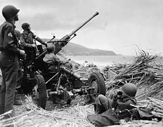 Anti-aircraft warfare - Swedish Bofors 40mm anti-aircraft gun mounted overlooking a beach in Algeria, manned by a United States anti-aircraft artillery crew. (1943)