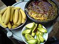 Boiled plantain with kontomire stew, garnished with pear.jpg