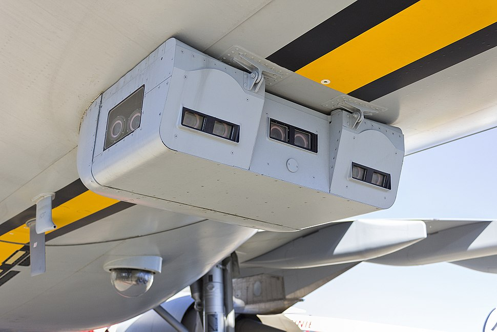 Boom Enhanced Vision System (BEVS) cameras fitted on RAAF (A39-002) Airbus KC-30A (A330-203MRTT) on display at the 2013 Avalon Airshow (1)