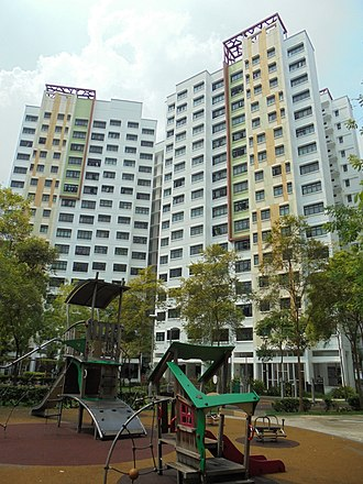 Jurong West - A typical apartment block in Boon Lay Meadow, showing the characteristic piloti effect on the column façade.
