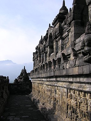 The murals on the wall of Borobudur, central Java, Indonesia.
