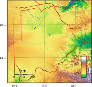 Geography of Botswana - Elevation map of Botswana