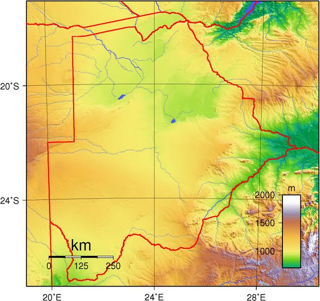 Topografie Botswanas