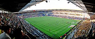 Gamla Ullevi - Brøndby Stadion of Brøndby IF in Copenhagen seen during a match in 2006, was the main, among several, source of inspiration for Nya Gamla Ullevi.