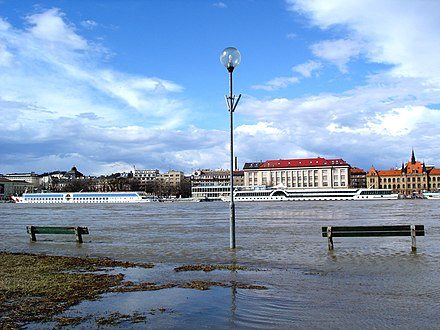 Bratislava does not usually suffer major floods, but the Danube sometimes overflows its right bank Bratislavaminorflood.jpg
