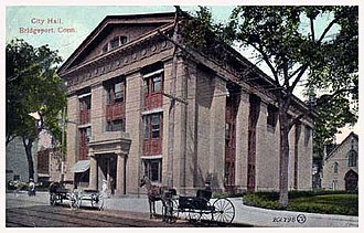 Bridgeport City Hall - Western view of Bridgeport City Hall, before 1905