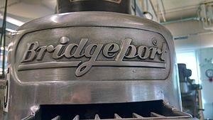 Bridgeport (machine tool brand) - The Bridgeport logo as cast into the head of a Bridgeport Knee Mill.