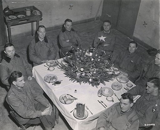 Brig. Gen. Anthony McAuliffe and his staff gathered inside Bastogne's Heintz Barracks for Christmas dinner Dec. 25th, 1944