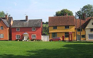 Hartest - Image: Bright cottages lining the green at Hartest geograph.org.uk 971518