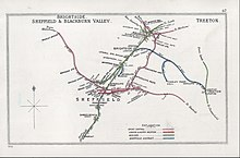 Railway Clearing House map showing the Wadsley Bridge to Sheffield Victoria section of the route