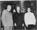 British Prime Minister Winston Churchill (left), President Harry S. Truman, and Soviet leader Josef Stalin on the... - NARA - 198906.tif