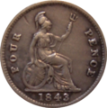 British fourpence 1843 reverse.png
