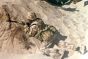 Disruptive Pattern Material -  British soldier wearing two-colour desert variant (1991)