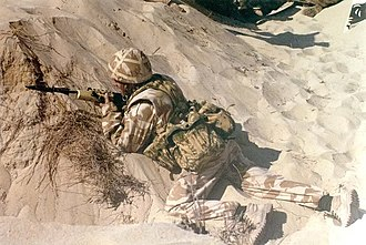 Mk 6 helmet - British soldier wearing the Mk 6 helmet with desert DPM cover during Operation Granby.
