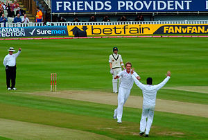 Rudi Koertzen - Koertzen gives Michael Hussey out, caught behind off Stuart Broad. 2009 Ashes series, 3rd Test at Edgbaston.