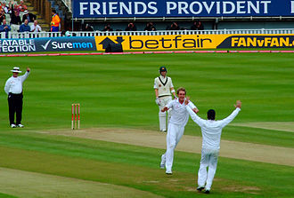 Stuart Broad - Broad celebrates the wicket of Michael Hussey with Graeme Swann in the 3rd Test of the 2009 Ashes Series